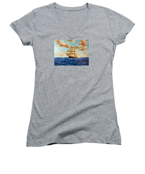 Tall Ship On The South Sea Women's V-Neck T-Shirt (Junior Cut) by Lee Piper