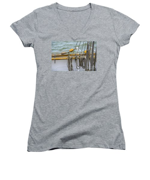 Women's V-Neck T-Shirt (Junior Cut) featuring the photograph Tall Ship Rigging by Dale Powell