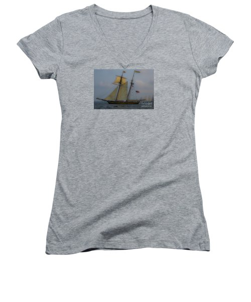 Tall Ships In The Lowcountry Women's V-Neck T-Shirt (Junior Cut) by Dale Powell