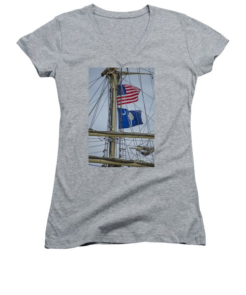 Women's V-Neck T-Shirt (Junior Cut) featuring the photograph Tall Ships Flags by Dale Powell