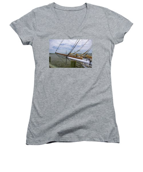 Women's V-Neck T-Shirt (Junior Cut) featuring the photograph Tall Ships In Charleston by Dale Powell