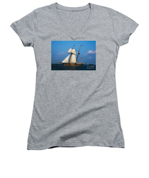 Women's V-Neck T-Shirt (Junior Cut) featuring the digital art Tall Ships Over Charleston by Dale Powell