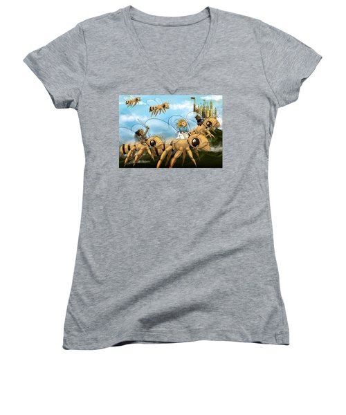 Women's V-Neck T-Shirt (Junior Cut) featuring the painting Tammy In Polynesia by Reynold Jay