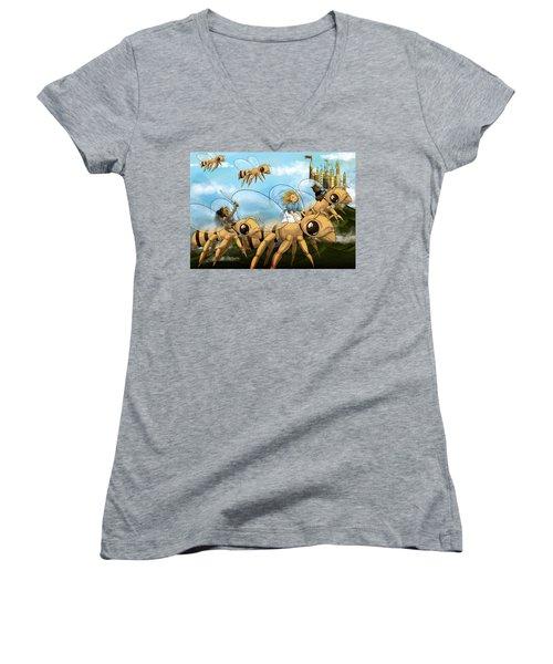 Tammy In Polynesia Women's V-Neck T-Shirt (Junior Cut) by Reynold Jay