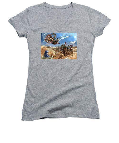 Women's V-Neck T-Shirt (Junior Cut) featuring the painting Tammy And The Flying Carpet by Reynold Jay