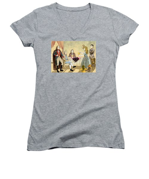 Women's V-Neck T-Shirt (Junior Cut) featuring the painting Tammy Meets Betsy Ross And George Washington by Reynold Jay