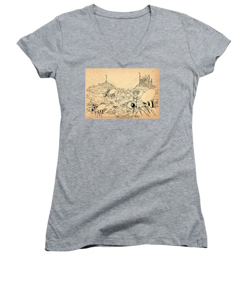 Women's V-Neck T-Shirt (Junior Cut) featuring the drawing Flight Over Capira by Reynold Jay