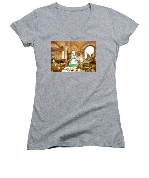 Women's V-Neck T-Shirt (Junior Cut) featuring the painting Tammy Meets Mr. Scott by Reynold Jay