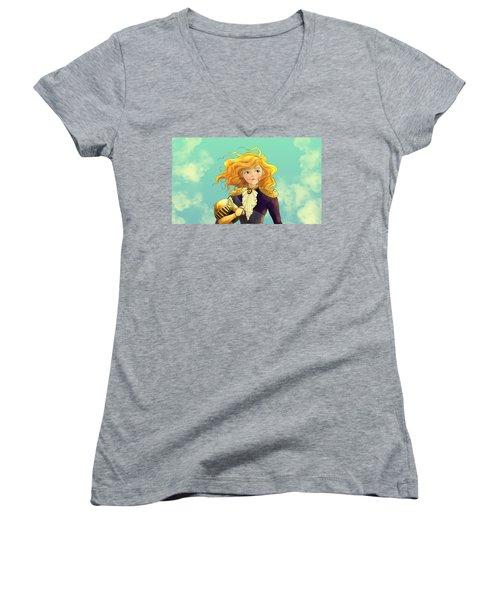 Tammy Wurtherington 1883 Color Portrait Women's V-Neck T-Shirt (Junior Cut) by Reynold Jay