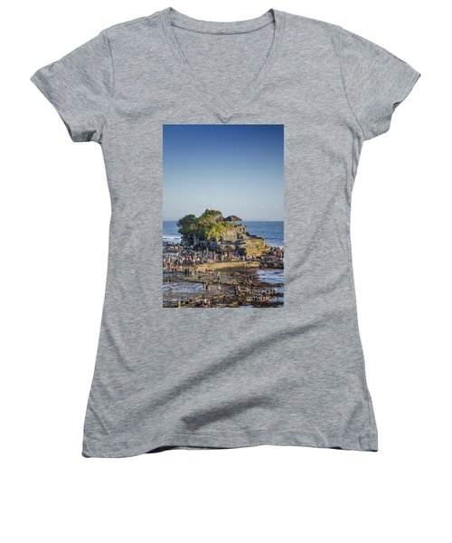 Tanah Lot Temple In Bali Indonesia Coast Women's V-Neck (Athletic Fit)