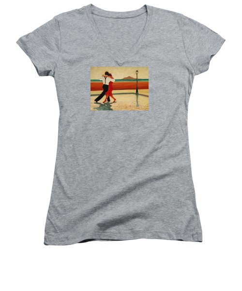 Women's V-Neck T-Shirt (Junior Cut) featuring the painting Tango Heat by Janet McDonald