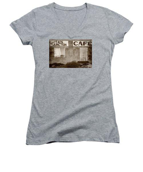 Taos Junction Cafe Women's V-Neck T-Shirt (Junior Cut) by Steven Bateson