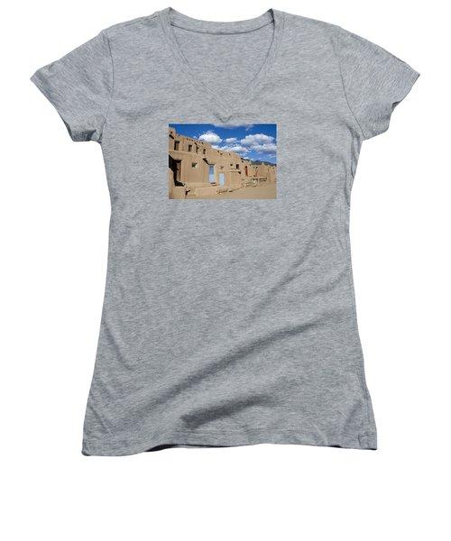 Taos Pueblo Women's V-Neck T-Shirt