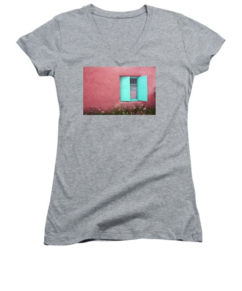 Taos Window I Women's V-Neck T-Shirt (Junior Cut) by Lanita Williams