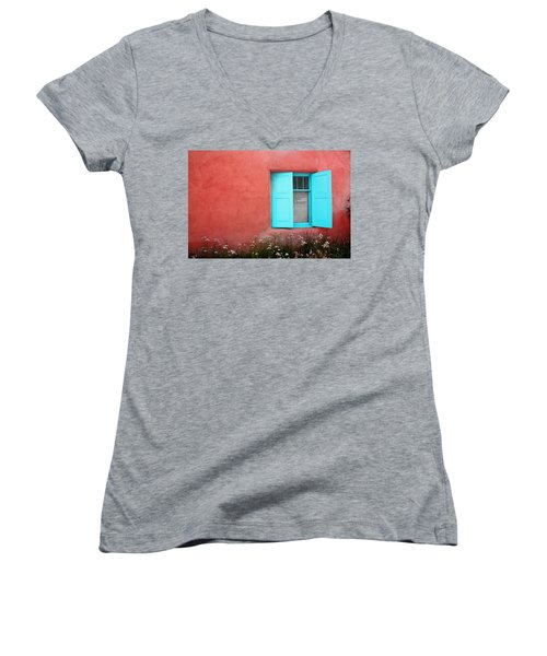 Taos Window Iv Women's V-Neck T-Shirt (Junior Cut) by Lanita Williams