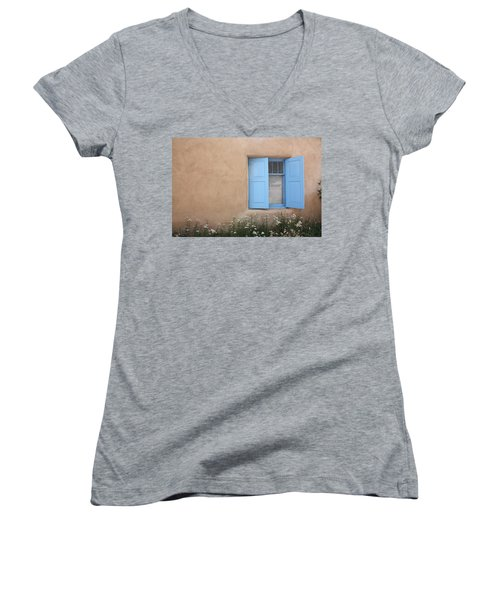 Taos Window Vi Women's V-Neck T-Shirt (Junior Cut) by Lanita Williams