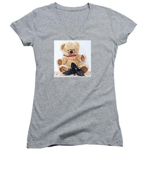 Tap Dance Shoes And Teddy Bear Dance Academy Mascot Women's V-Neck T-Shirt (Junior Cut) by Pedro Cardona