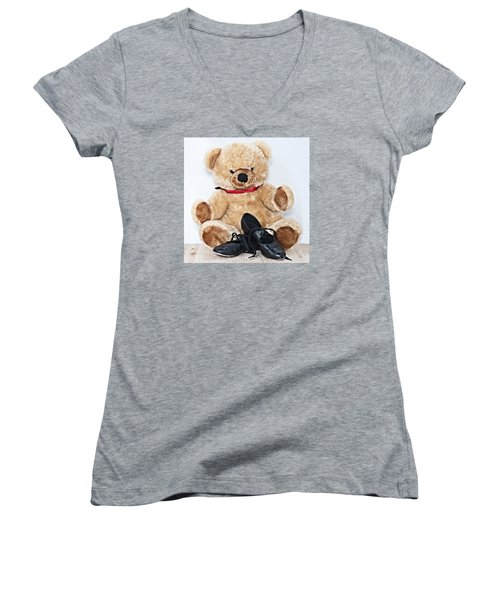 Tap Dance Shoes And Teddy Bear Dance Academy Mascot Women's V-Neck T-Shirt (Junior Cut)