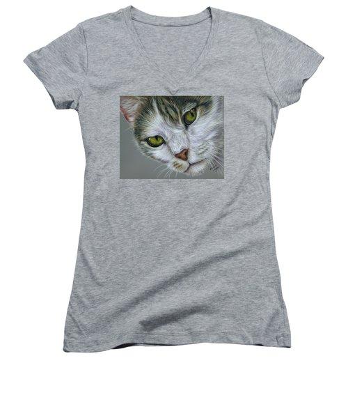 Tara Cat Art Women's V-Neck (Athletic Fit)