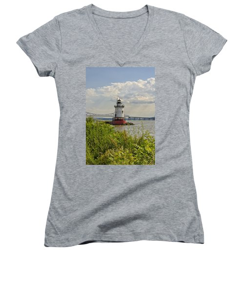 Tarrytown Lighthouse And The Tappan Zee Bridge Women's V-Neck (Athletic Fit)