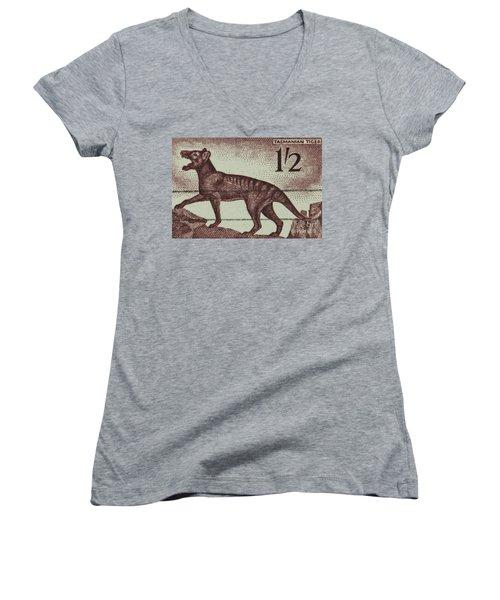 Tasmanian Tiger Vintage Postage Stamp Women's V-Neck T-Shirt (Junior Cut) by Andy Prendy