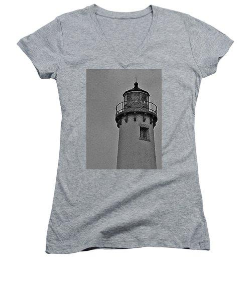 Tawas Point In The Rain Women's V-Neck T-Shirt (Junior Cut) by Daniel Thompson