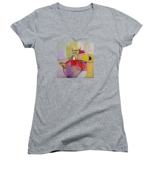 Tea For Two Women's V-Neck T-Shirt (Junior Cut) by Michelle Abrams