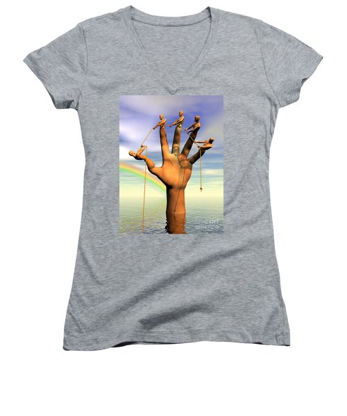 The Hand Is The Sum Of Its Fingers Women's V-Neck