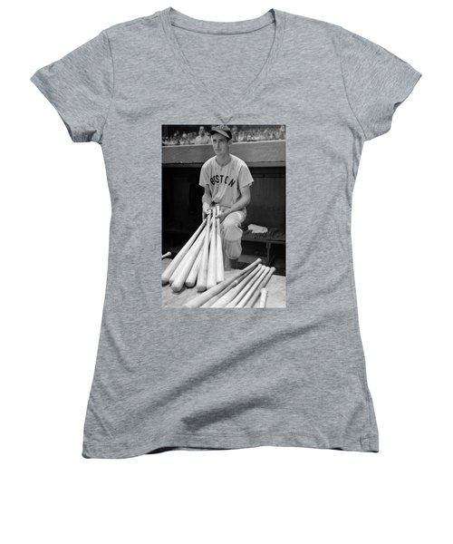 Ted Williams Women's V-Neck T-Shirt (Junior Cut) by Gianfranco Weiss
