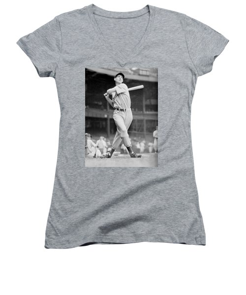 Ted Williams Swing Women's V-Neck T-Shirt (Junior Cut) by Gianfranco Weiss