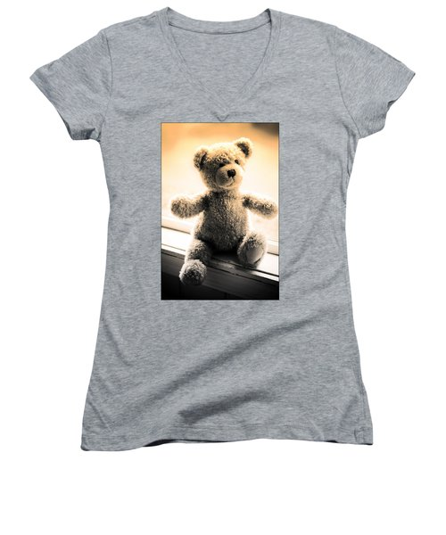 Women's V-Neck T-Shirt (Junior Cut) featuring the photograph Teddy B by Aaron Berg
