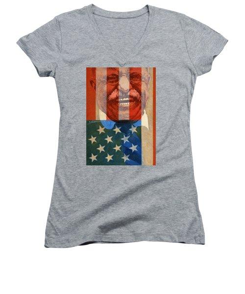 Teddy Roosevelt Women's V-Neck T-Shirt (Junior Cut) by John D Benson
