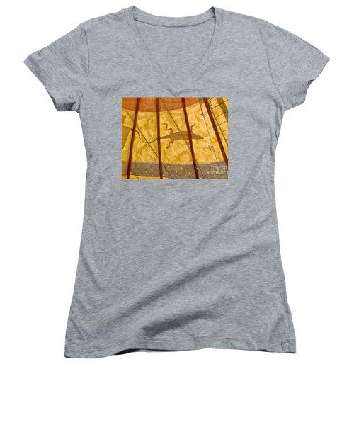 Tee  Pee Women's V-Neck T-Shirt (Junior Cut) by Gary Warnimont