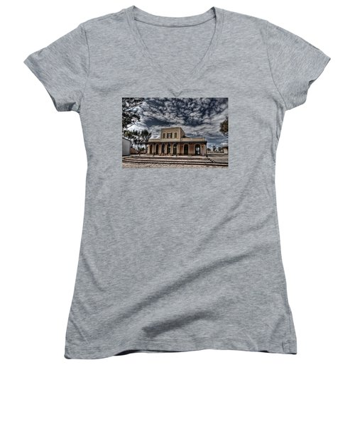 Women's V-Neck T-Shirt (Junior Cut) featuring the photograph Tel Aviv First Railway Station by Ron Shoshani