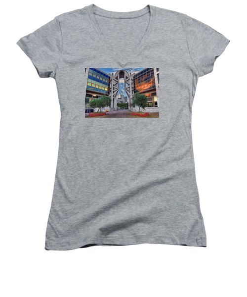 Women's V-Neck T-Shirt featuring the photograph Tel Aviv Performing Arts Center by Ronsho