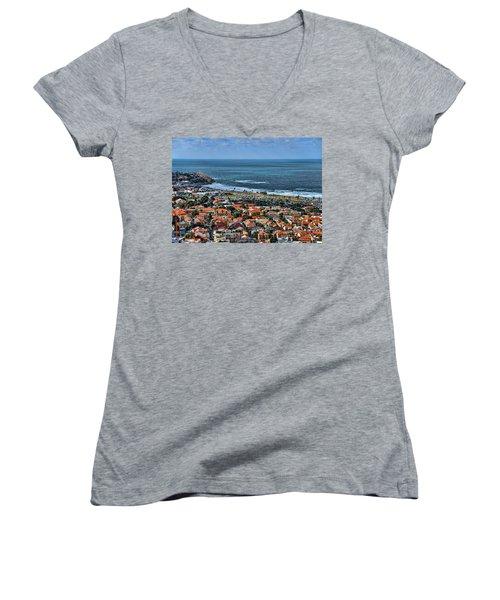 Women's V-Neck T-Shirt (Junior Cut) featuring the photograph Tel Aviv Spring Time by Ron Shoshani