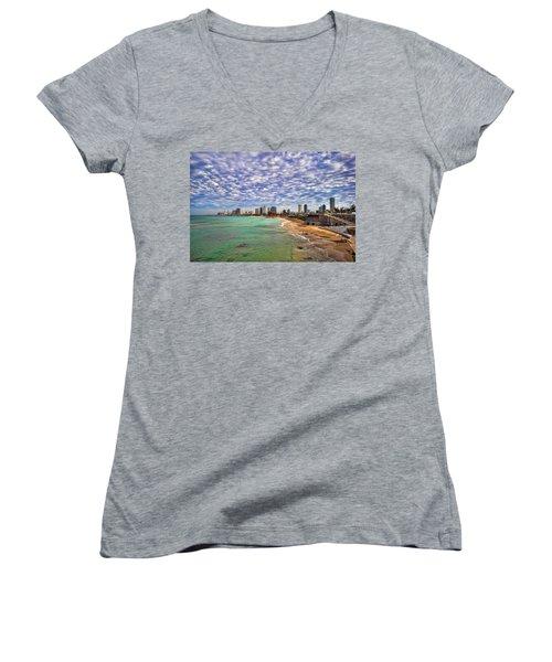 Women's V-Neck T-Shirt (Junior Cut) featuring the photograph Tel Aviv Turquoise Sea At Springtime by Ron Shoshani