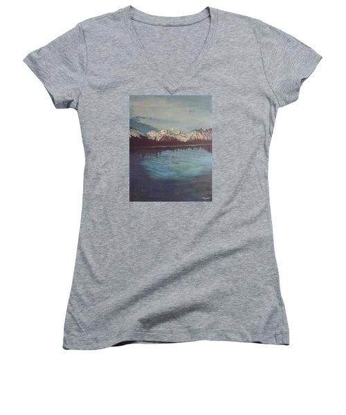 Telequana Lk Ak Women's V-Neck T-Shirt (Junior Cut) by Terry Frederick