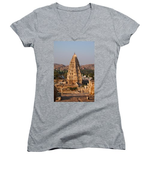 Temple At Hampi Women's V-Neck T-Shirt