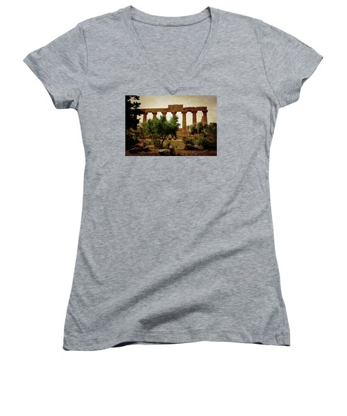 Temple Of Juno Lacinia In Agrigento Women's V-Neck T-Shirt (Junior Cut) by RicardMN Photography