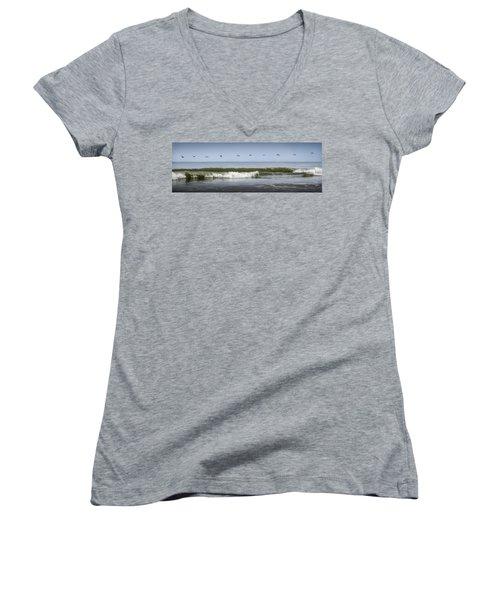Women's V-Neck T-Shirt featuring the photograph Ten Pelicans by Steven Sparks