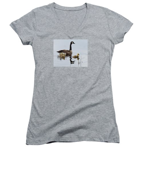 Women's V-Neck T-Shirt (Junior Cut) featuring the digital art Tender Care by I'ina Van Lawick