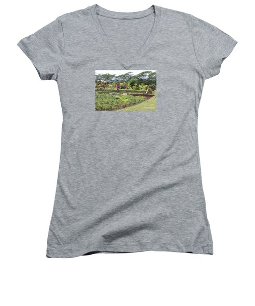 Women's V-Neck T-Shirt (Junior Cut) featuring the photograph Tending The Land by Suzanne Luft