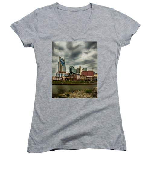 Tennessee - Nashville From Across The Cumberland River Women's V-Neck T-Shirt