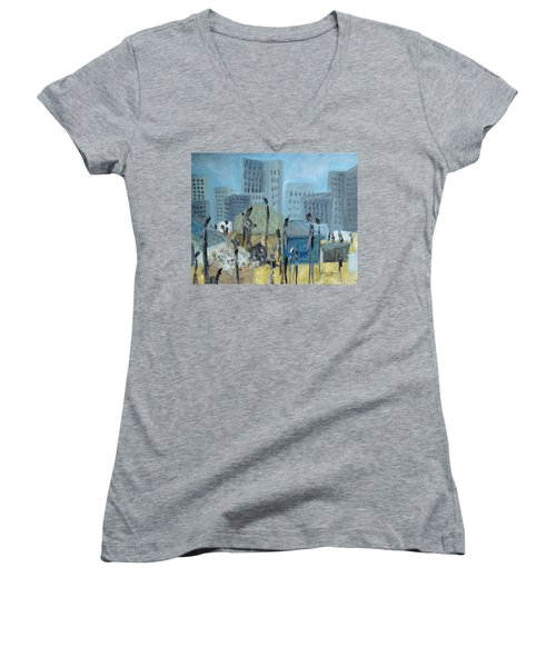 Women's V-Neck T-Shirt featuring the painting Tent City Homeless by Judith Rhue