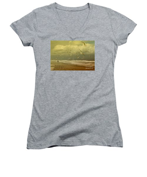 Terns In The Clouds Women's V-Neck