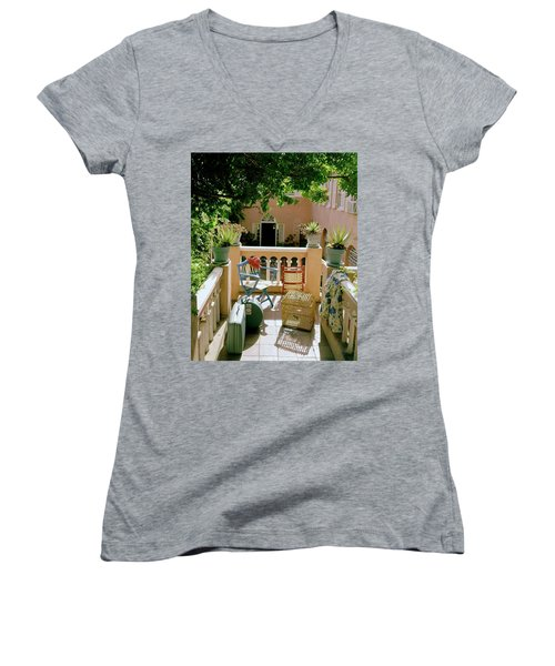 Terrace At A Guest House At Waterloo Women's V-Neck