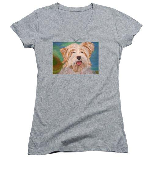 Terrier Portrait Women's V-Neck T-Shirt (Junior Cut) by Tracey Harrington-Simpson