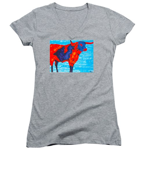 Texan Longhorn Women's V-Neck (Athletic Fit)
