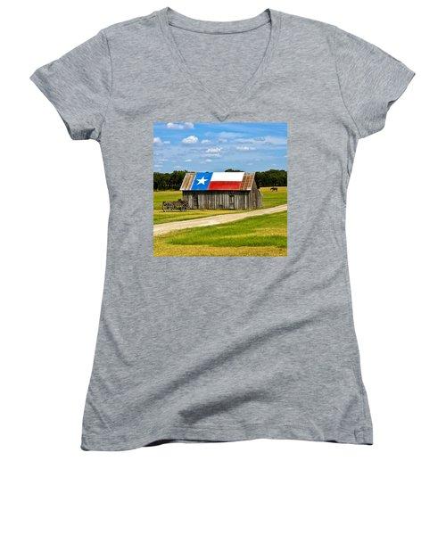 Texas Barn Flag Women's V-Neck (Athletic Fit)